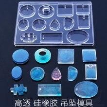 Molde de silicona de cabujón de 12 diseños COLLAR COLGANTE de resina molde para hacer joyas DIY artesanía a mano moldes de resina para joyería