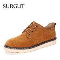 SURGUT Hot Sales Men Casual Shoes Fashion Suede Shoes Top Quality Men Breathable Autumn Men Flat Shoes Dropshipping Size 38 44