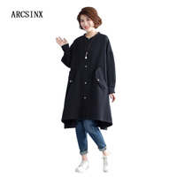 ARCSINX Spring Autumn Jacket For Woman Plus Size 10XL 9XL 8XL 7XL 6XL 5XL 4XL Korean Long Women's Blend Coat Black Jackets Women