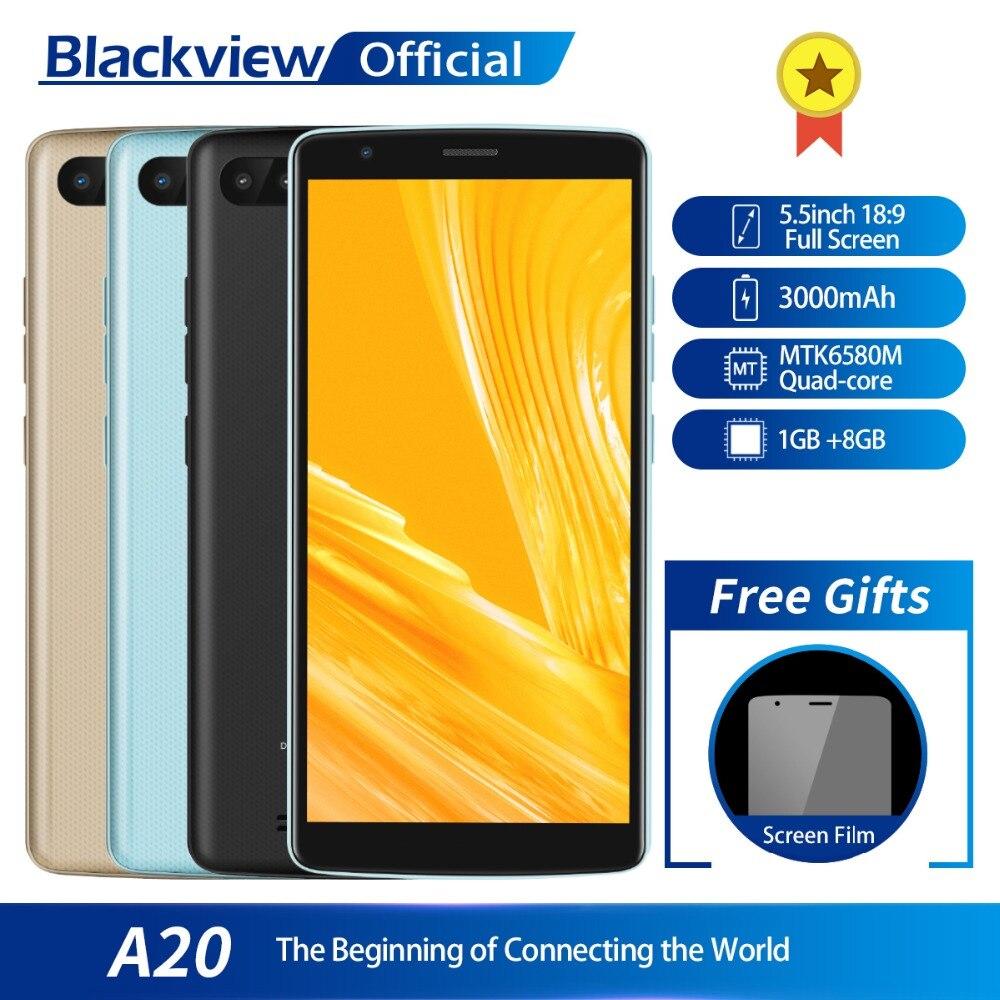 Blackview A20 Smartphone 1 GB RAM 8 GB ROM MTK6580M Quad Core Android 5,5 pulgadas de pantalla 18:9 3G doble cámara de teléfono móvil