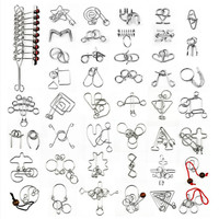 45 PCS Set Chinese Ring IQ Metal Wire Puzzle For Children Adults Creative Brain Teaser Puzzles