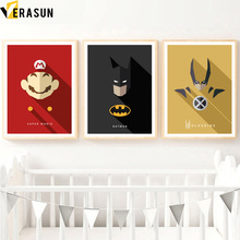 VERASUN Super Mario Batman Superhero Wall Art Canvas Painting Posters And Prints Cartoon Wall Pictures For Living Room Decor