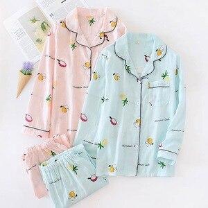 Image 1 - Fashion striped pajama sets women 2019 summer 100% gauze cotton long sleeve casual sleepwear Fresh pyjamas for women