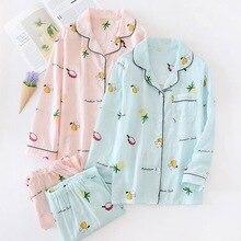 Moda listrado conjuntos de pijama mulheres verão 2019 100% gaze de algodão de manga longa sleepwear ocasional Fresco pijama para as mulheres