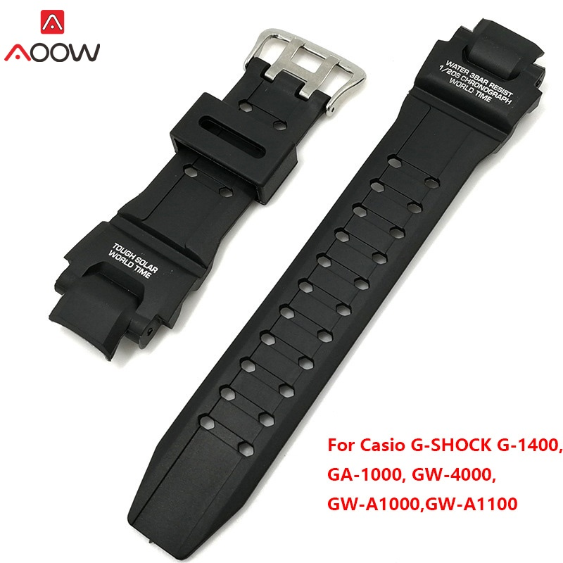 Black Silicone Watchband For Casio G Shock GA-1000/1100 GW-4000/A1100 G-1400 Watch Replacement Band Strap Watch Accessories