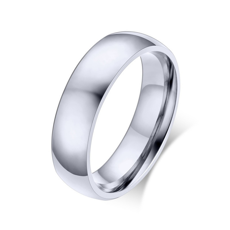 Stainless Steel Domed Comfort Fit Band Ring 6mm