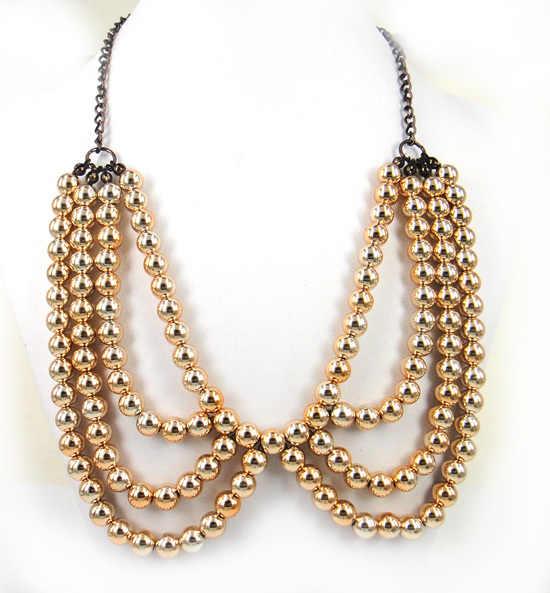 Envío Gratis 2013 nuevo Europea hecho a mano grueso Collar oro collares de perlas