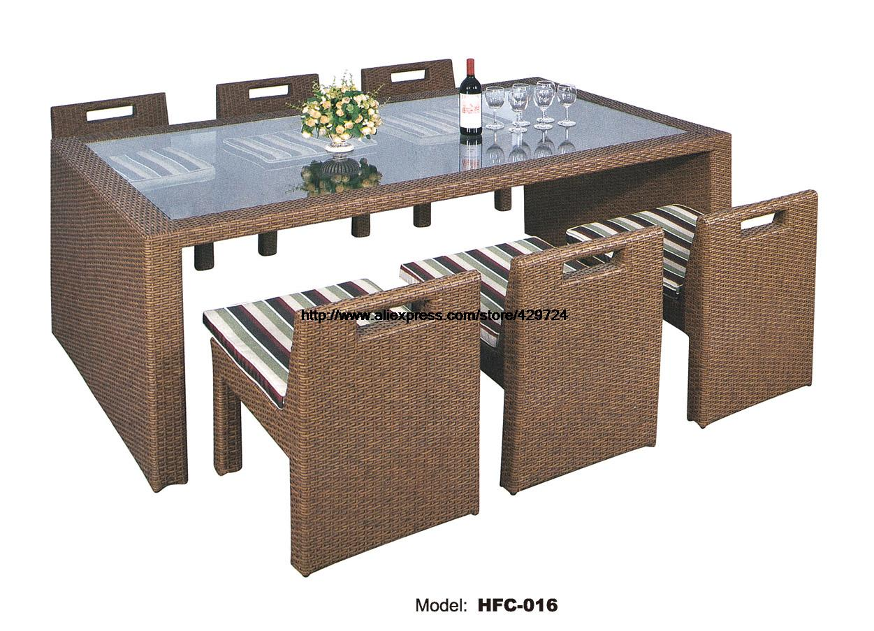 Glass Table Rattan Chair Combination Set Creative Leisure Outdoor desk Table chairs Set balcony Garden furniture rattan Set