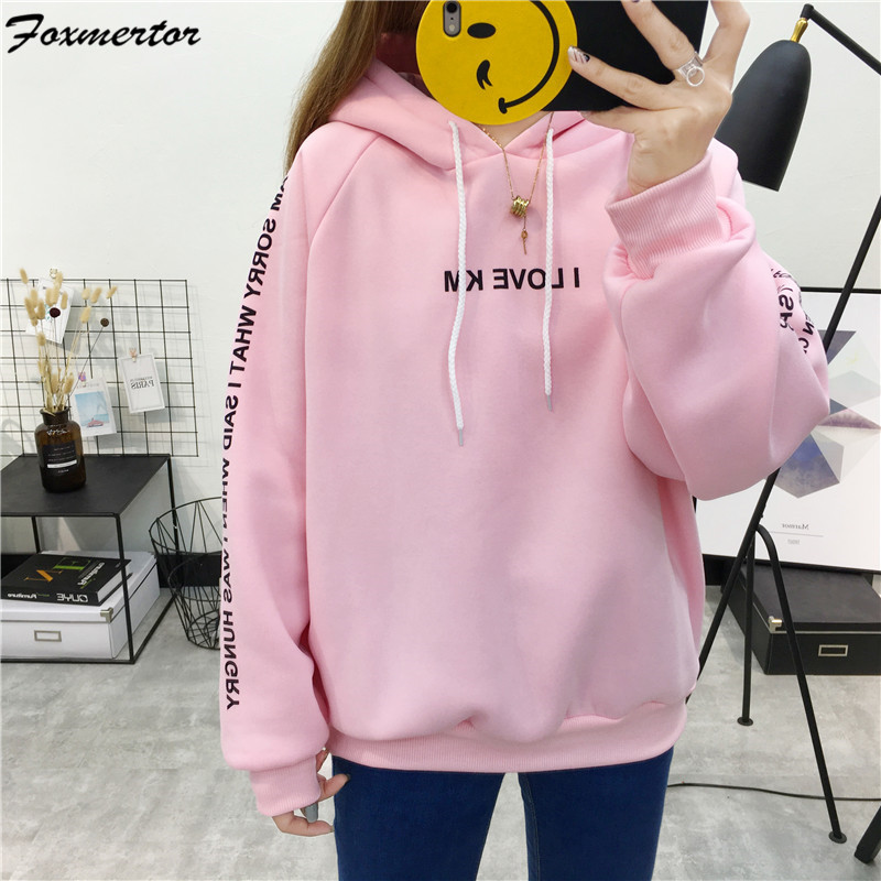 Harajuku Letters Printed Hoodies 2019 Fashion Female Hoodies Sweatshirt Pullover Women Autumn Long Sleeve Sweatshirt Coat Pink