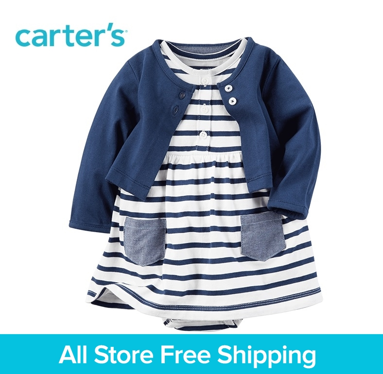 Carter's 2pcs baby children kids 2-Piece Bodysuit Dress & Cardigan Set 121H126,sold by Carter's China official store carter s 1 pcs baby children kids long sleeve embroidered lace tee 253g688 sold by carter s china official store