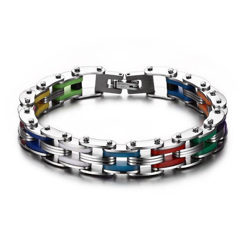 SIZZZ silicona hombre pulsera brazalete del acero inoxidable Color del arco iris 316L Acero inoxidable la pulsera del corchete pulsera para hombres mujeres