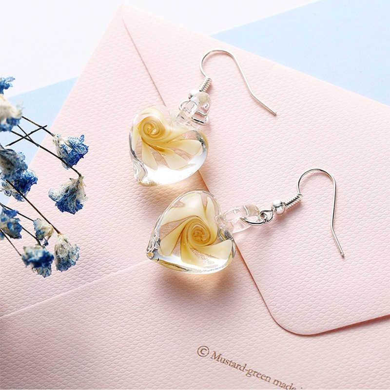Crazy פנג מגמת עיצוב להתנדנד ארוך עגילי לנשים אופנה נדיב ספירלת פרח זכוכית Pendientes עגיל אביזרים