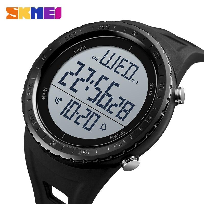 SKMEI открытый спортивные часы Для мужчин цифровой большой циферблат обратного отсчета 50 м Водонепроницаемый шок часы хронограф Сигнализаци...