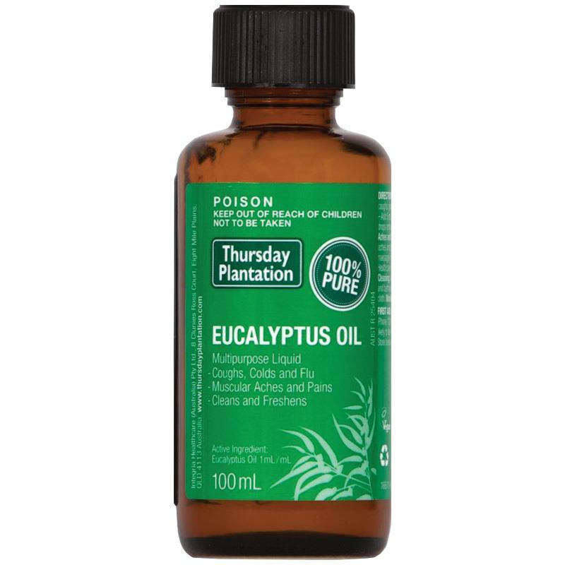 Thursday Plantation Eucalyptus Oil 100% Pure 100ml relieves cold flu symptoms mild arthritic muscular aches pains Massage oil цены онлайн
