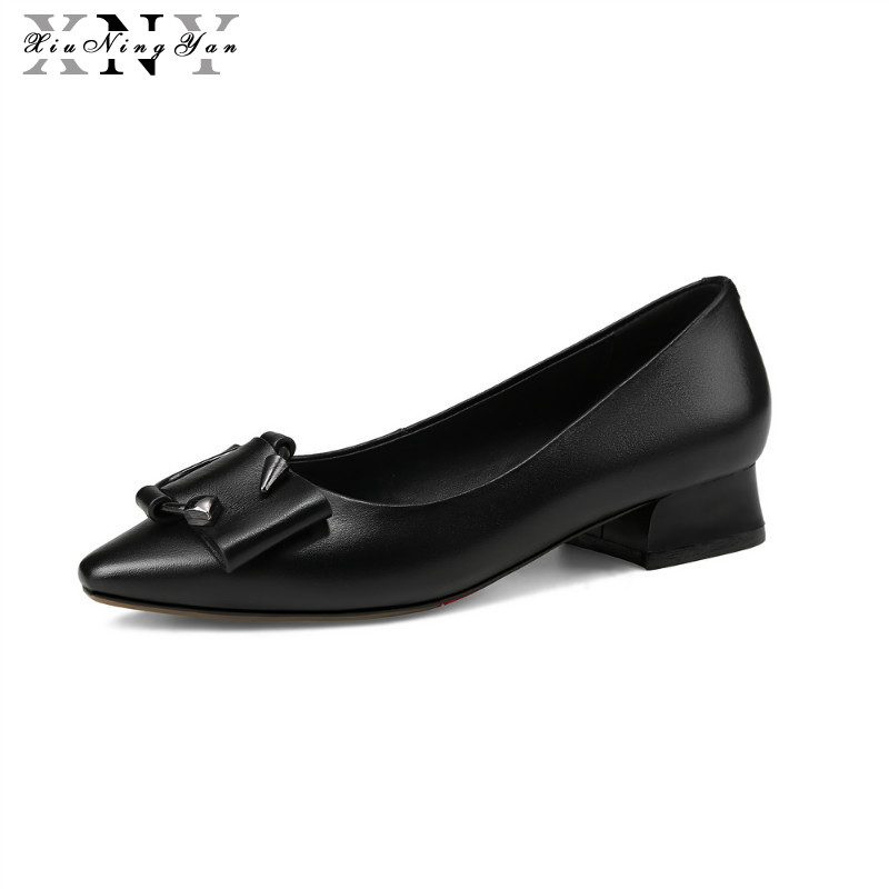 XIUNINGYAN New Women Pumps Genuine Leather Shoes Woman Sexy Pointed Toe Office Pumps Ladies Wedding Party Shoes Large Size 34-43 cocoafoal woman green high heels shoes plus size 33 43 sexy stiletto red wedding shoes genuine leather pointed toe pumps 2018