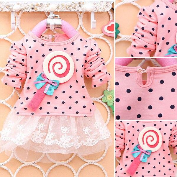 Girls Dress Baby Kid Girl Lollipop Polka Dot Long Sleeve Lace Tutu Dresses 2-4Y