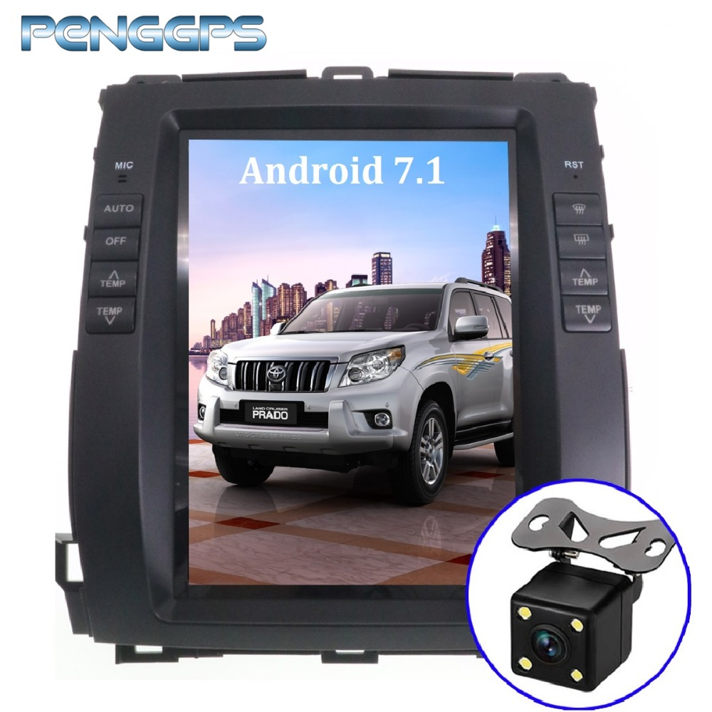 Android 7.1 Car GPS Navigation DVD Player for Toyota Land Cruiser Prado 120 2002-2009/ Lexus GX470 Tesla Style 10.4 IPS Screen