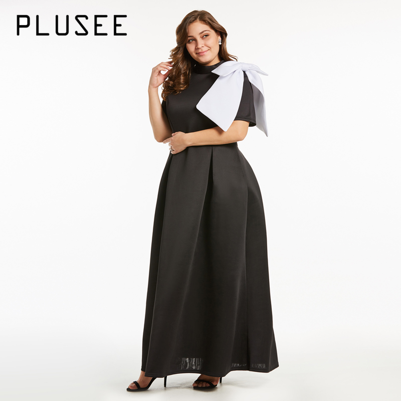 PLUSEE New Women Fashion Short Sleeve Bow Long Maxi Dress Elegant Black  Party Dresses Plus Size Ball Dress