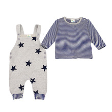 2016 New Spring Baby Boy Clothes Infant baby Clothing Navy Baby Romper+Star Pattern Trousers 2 Pcs bebe clothing set