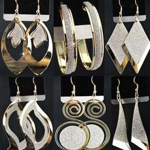 Горячая Распродажа, 6 пар, смешанные стильные модные золотые P матовые очарование серьги падение для женщин бижутерия оптом A-2301