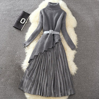 Spring Autumn Women s Preppy Style high collar irregular wave Lace Knitting Long top+ pleated half Dress+ belt Slim Suit