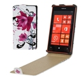 Purple Flowers Pattern Vertical Flip Leather Case for Nokia Lumia 520