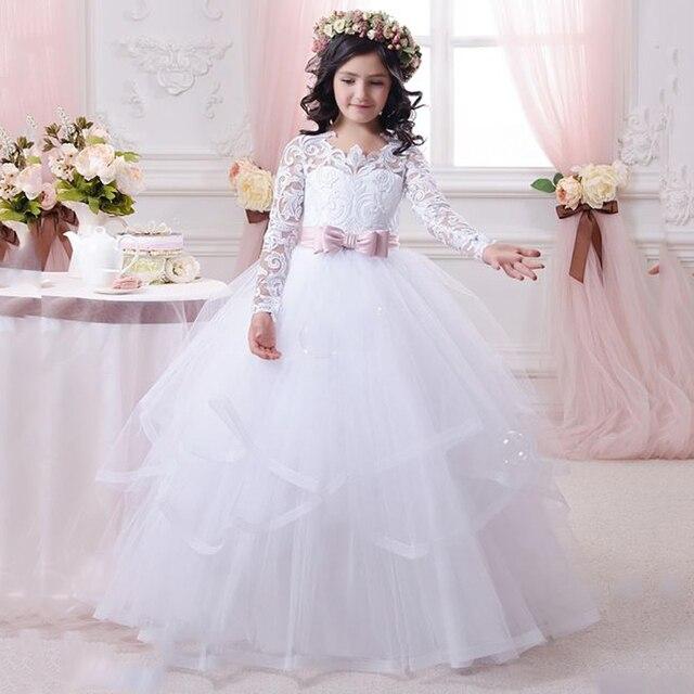 Lovely White Pageant Dresses For Girls Long Flower Girl Dress For ...