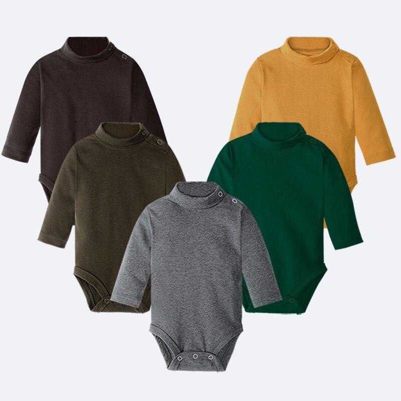 Hooyi ropa de bebé niño 100% algodón puro sólido recién nacido Bodysuits cuello alto ropa prematura camisetas 0 1 2 3 años PJS Soft