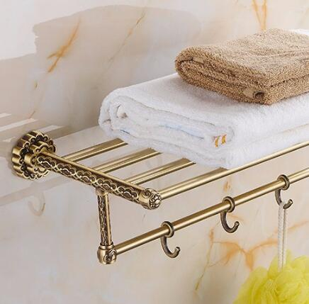 цена на Free Shipping Brass Vintage Style Bathroom Towel Rack Antique Bronze Towel Shelf Holder Carved Pattern Wall-mount towel holder