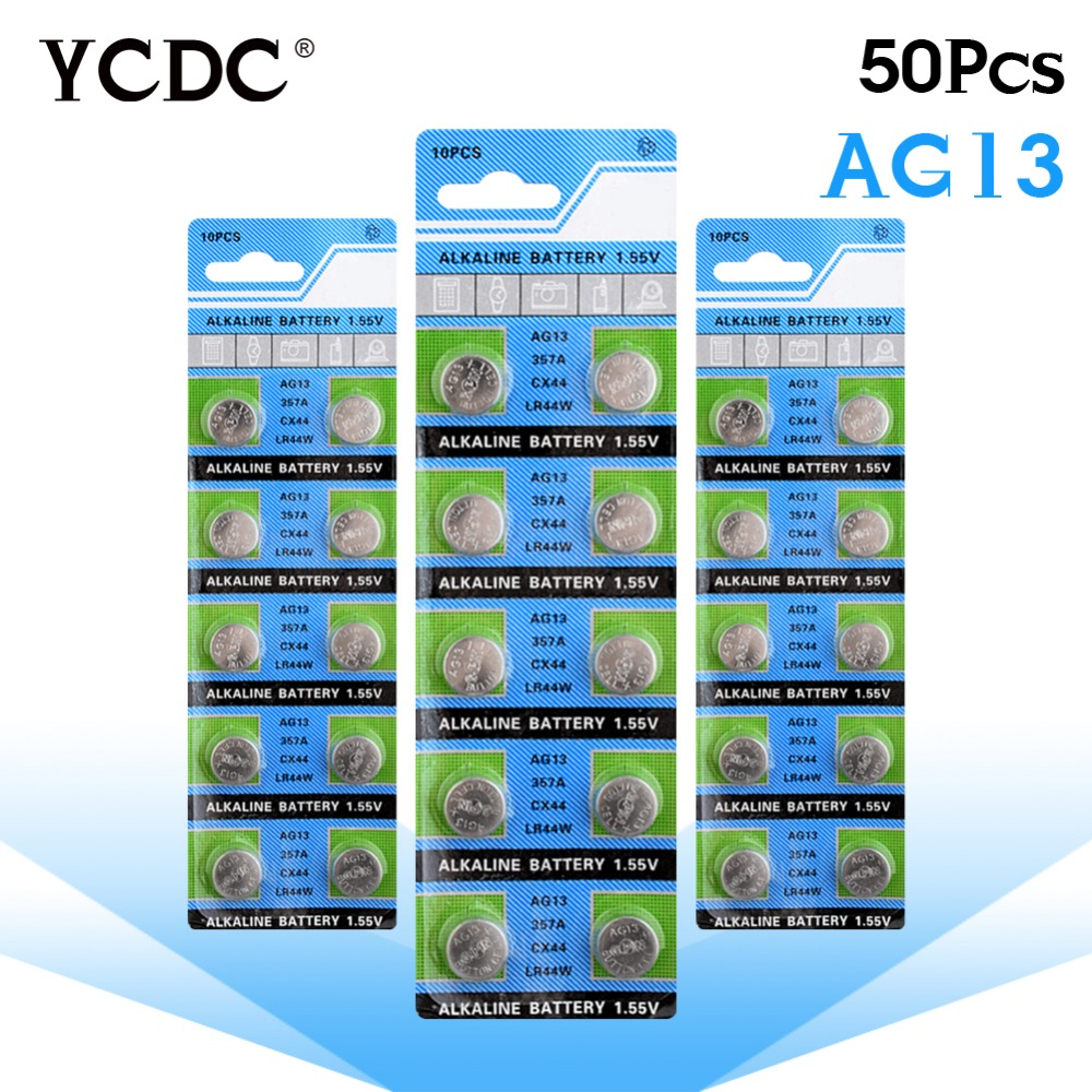 цена на YCDC ag13 50pcs For Watches clocks calculators 50pcs AG13 LR44 LR1154 SR44 A76 357A 303 357Cell Button Battery Coin Cell battery