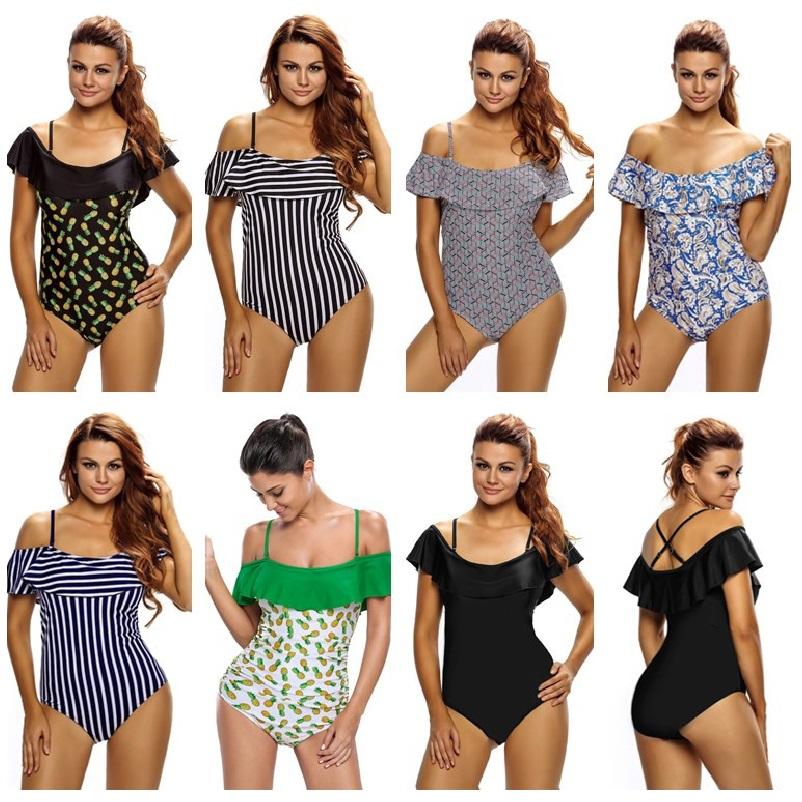 SEBOWEL 17 Sexy Plus Size Off Shoulder One Pieces Swimsuit Women Ruffle Stripes Swimwear Large Size Monokini Bathing Suits 3XL 6