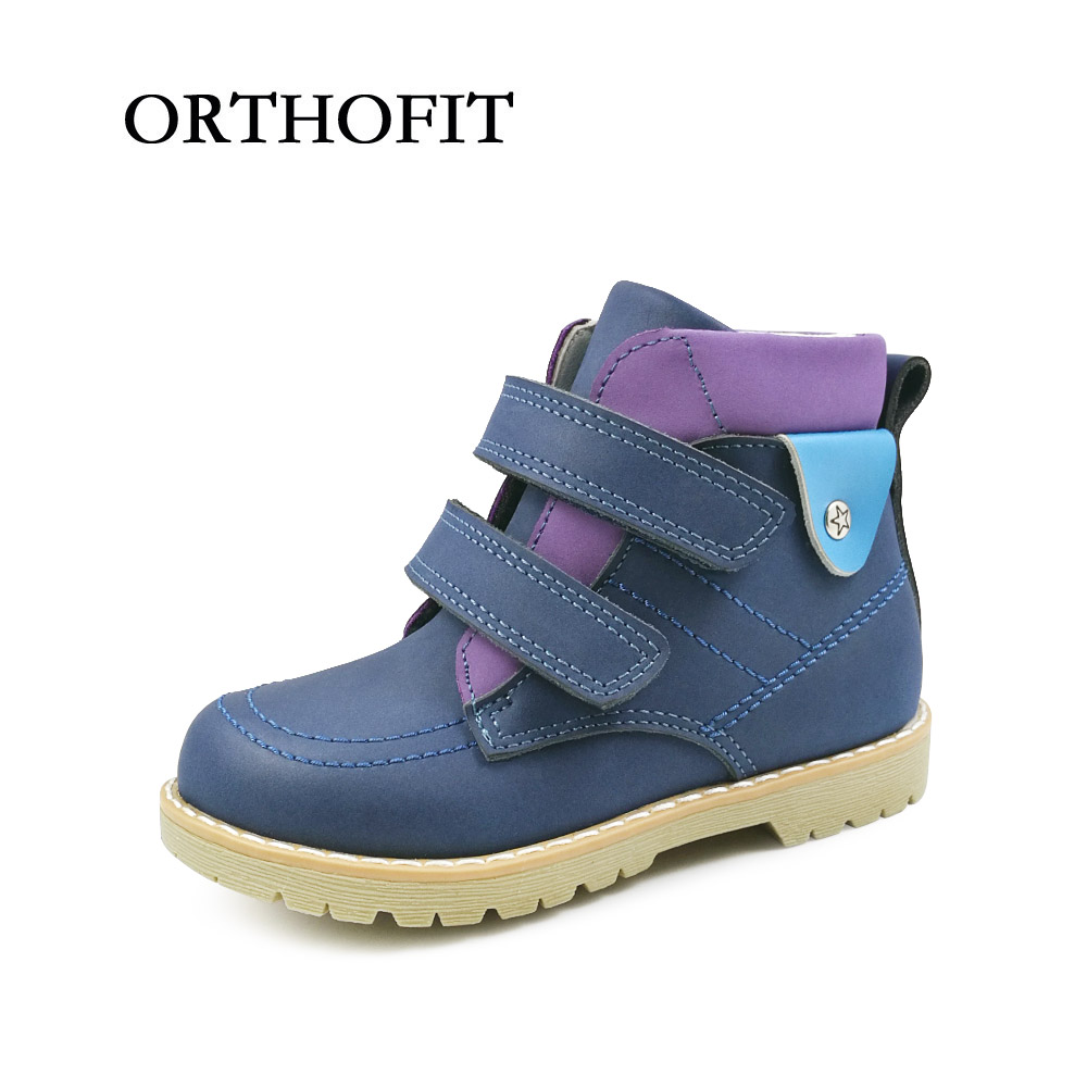 New arrival fashion children nubuck leather boots boys velvet spring autumn ankle boots shoes kids blue orthopedic shoes