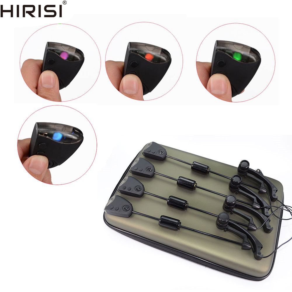 LED fishing swinger set with CHANGEABLE color control Illuminated fishing alarm swingers 4pcs in Zipped case