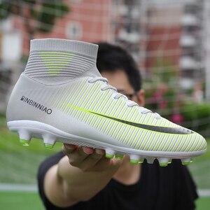 Image 4 - Męskie korki do piłki nożnej piłka nożna knagi buty długie kolce TF kolce kostki wysokie trampki miękkie kryty Turf Futsal buty piłkarskie mężczyzn
