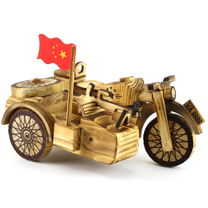 Chinese Scenic Hot Selling Motorcycle Home Decor Figurines Wooden Craft Living Room Study Office Desktop Decorations Child Gifts