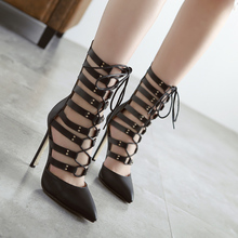 2017 Summer Sexy Girl Black Hollow Rivets out Cross Tied Thin High Heels Women Sandals Peep Toe Woman Wedding Shoes