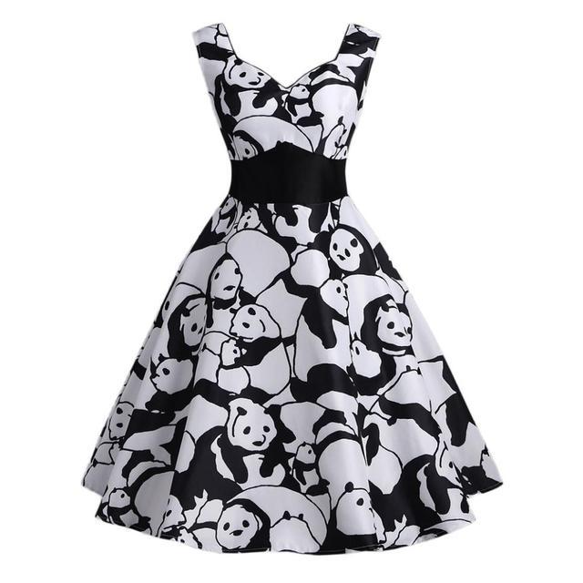 Women Retro Black Panda Printed Mini Dress Sleeveless Vintage A-Line Dress  V Neck Waist cb5f8b9e53