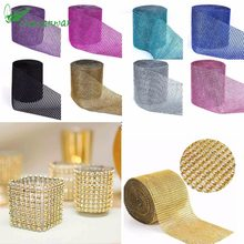 1 Yard 91.5cm Tulle Rolls Mesh Trim Bling Diamond Wrap Cake Tulle Roll Crystal  Ribbons Party Wedding Decoration Party Supplies f3b40c7d0b3e