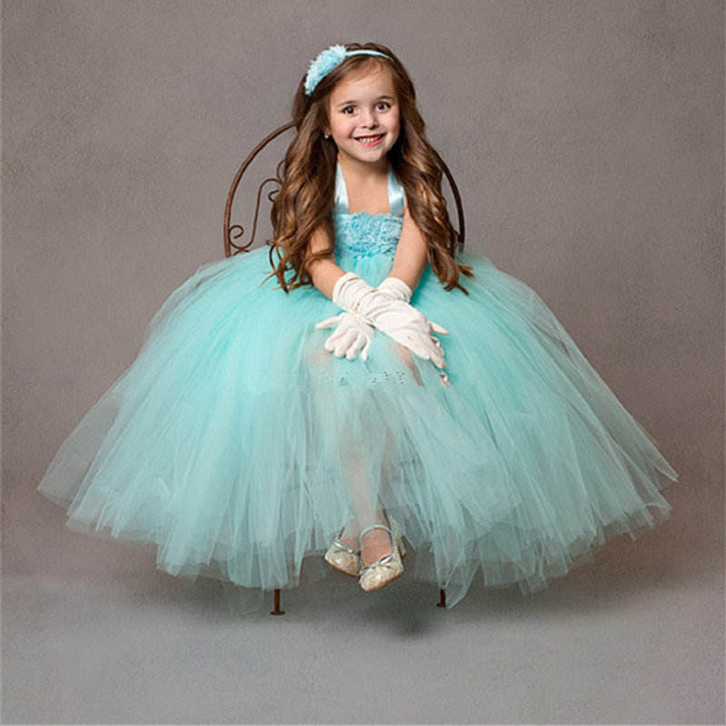 Mint Green Flower Girl Dresses For Party and Wedding Kids Girl Pageant Birthday Bridesmaid Tulle Tutu
