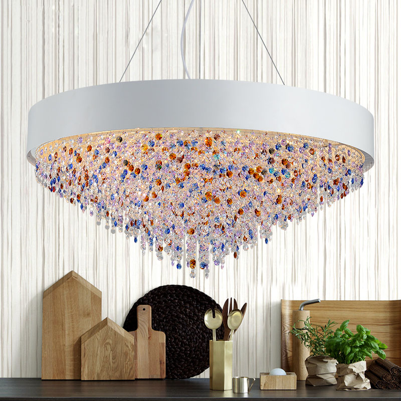 T Creative large Colorful Crystal Pendant Light Dining Room Home Living Room Restaurant Rectangular Modern Lamp For Hall hotel living room chairs hotel hall restaurant