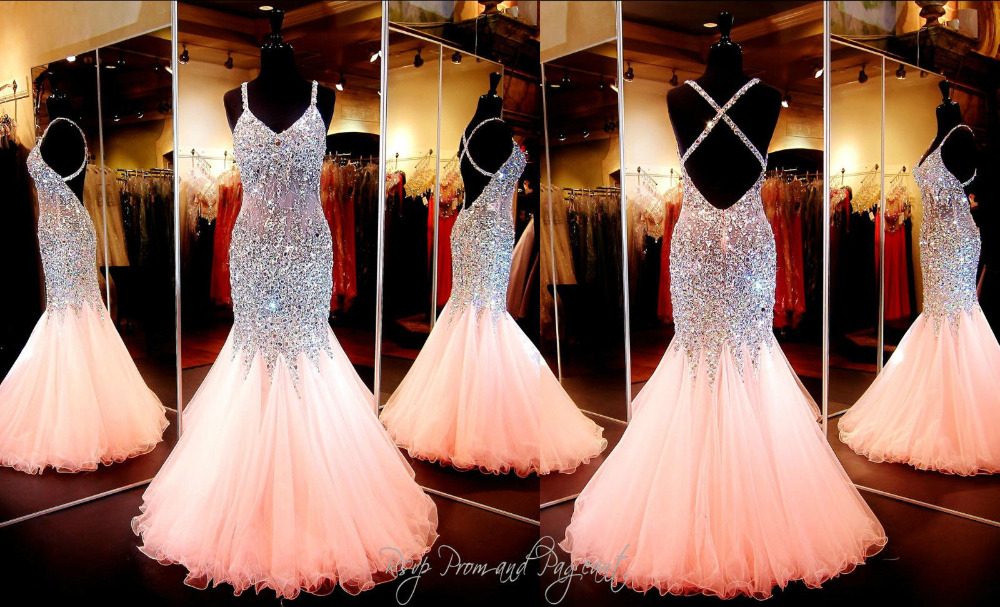 2edce2a28b Gorgeous Coral Mermaid Prom Dresses 2016 V Neck Luxury Crystal Tulle Beaded  Backless Sequin Long Evening Formal Gowns