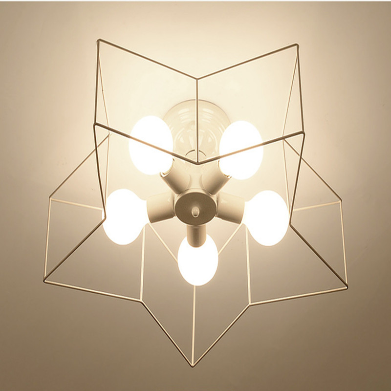 Modern Creative Ceiling Light Livingroom Bar Passage Bedroom Restaurant Cafe Five-pointed Star Decoration Lamp Free Shipping modern simple retro industrial style ceiling light livingroom bedroom restaurant cafe decoration lamp free shipping