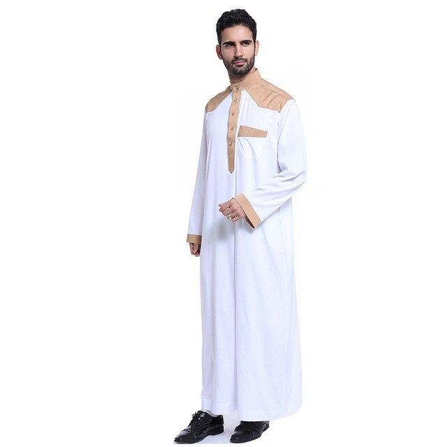 Muslim clothing for men abaya arab men robe saudi thobe White BTH803 ... 9c36abb75