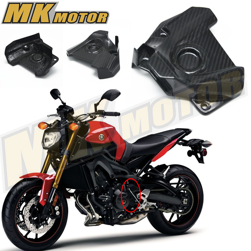 Free shipping for 2014 2015 2016 MT09 FZ09 FJ09 Engine Sprocket Chain Case Cover 100% Carbon Fiber 7 color aluminum engine stator case cover protective side protector for mt09 fz09 mt 09 fz 09 fz mt 09 2014 2015 2016 14 15 16