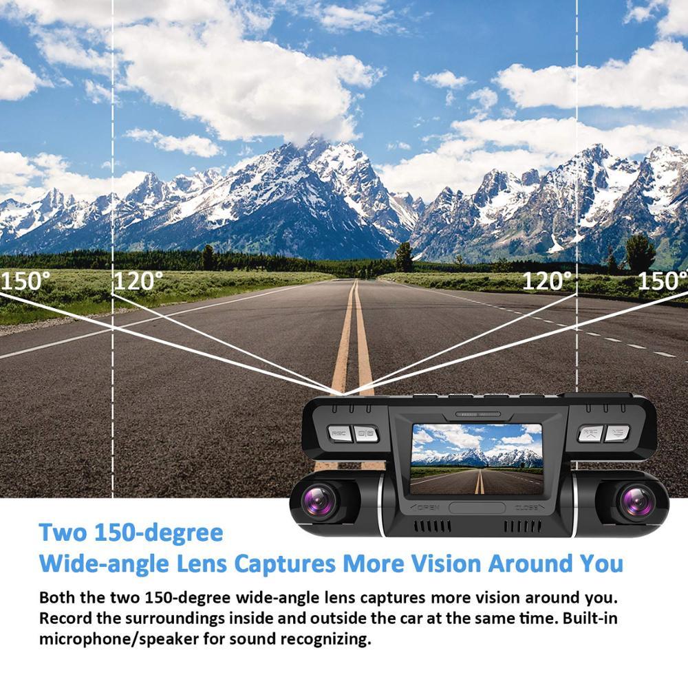 Pruveeo B80 Dash Cam mit WiFi, 4K Dual 1080P Vorderen und Im Inneren, dash Kamera für Autos Lkw Taxi