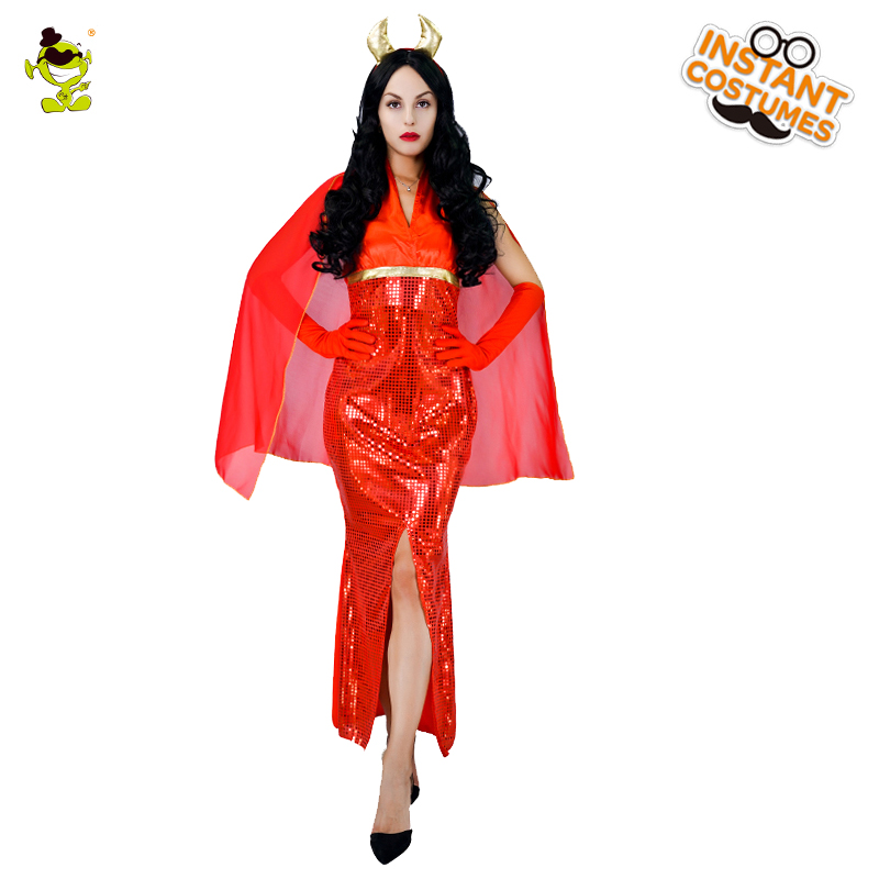 Purim Holiday Adult's  Devil Costumes For Women's Sexy Red Evil Costumes Halloween Party Cosplay Fancy Dress Outfits Costumes