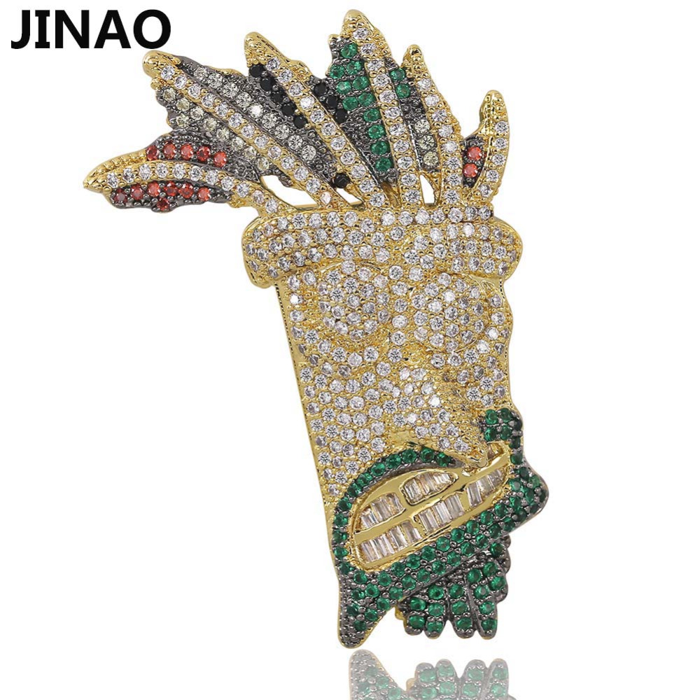JINAO Cubic Zircon Iced Out Chain Gold Fashion UKA mask Pendant Necklace Hip Hop Jewelry Statement Necklaces For Man Women GiftsJINAO Cubic Zircon Iced Out Chain Gold Fashion UKA mask Pendant Necklace Hip Hop Jewelry Statement Necklaces For Man Women Gifts