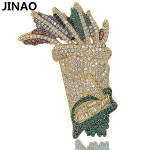 Image 1 - JINAO, кубический циркон, цепочка со льдом, Золотая мода, UKA ожерелье с подвеской маской, ювелирные изделия в стиле хип хоп, массивные ожерелья для мужчин и женщин, подарки