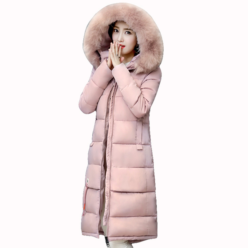 winter Jacket women 2017 Cotton padded Parka Thicken Warm winter coat women Fur collar hooded long Jacket Plus size coats QH0642 okxgnz winter cotton jacket coat women 2017long cotton padded costume hooded loose warm coats plus size women basic coats ah021