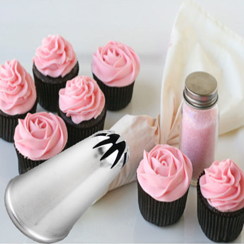 Stainless Steel Rose Flower Tips Cake Nozzle Cupcake Cup ...